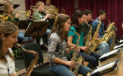 Walt Whitman High School jazz band during a visit to the Historic Washington Navy Yard, Washington, D.C